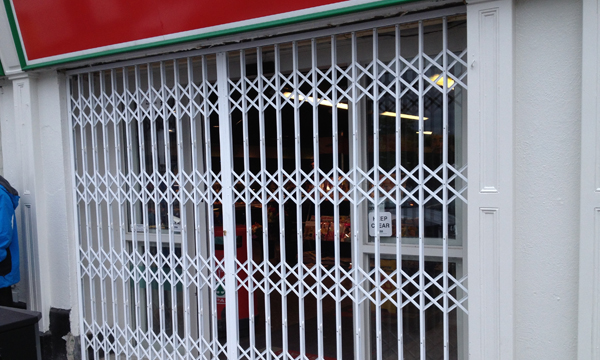 Security Grille securing a shop in Dublin